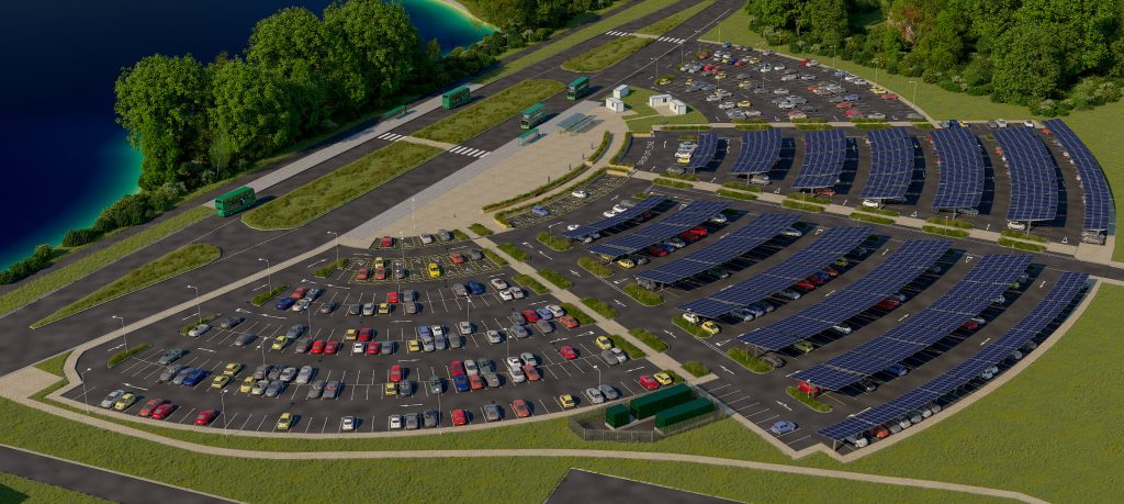 An exterior render of the UK's largest proposed Solar Powered Park and Ride Scheme.