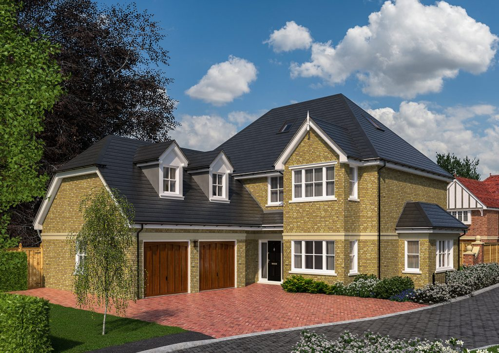 An Exterior 3d Rendering of a beautiful luxury family home.