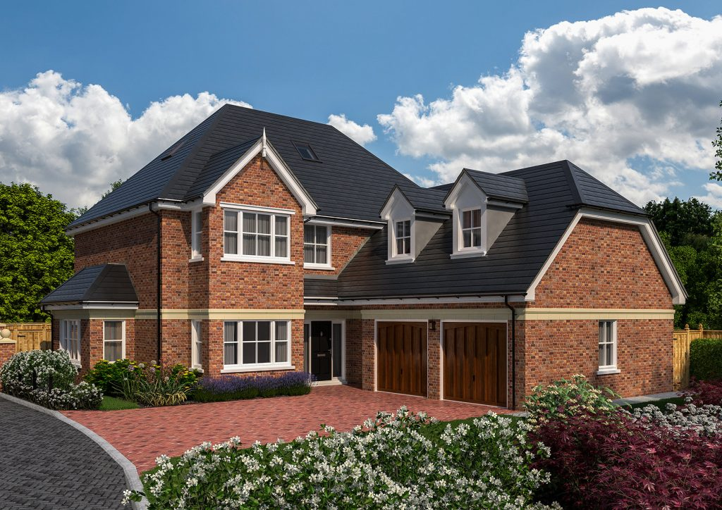 A exterior rendering of a luxury new development home.