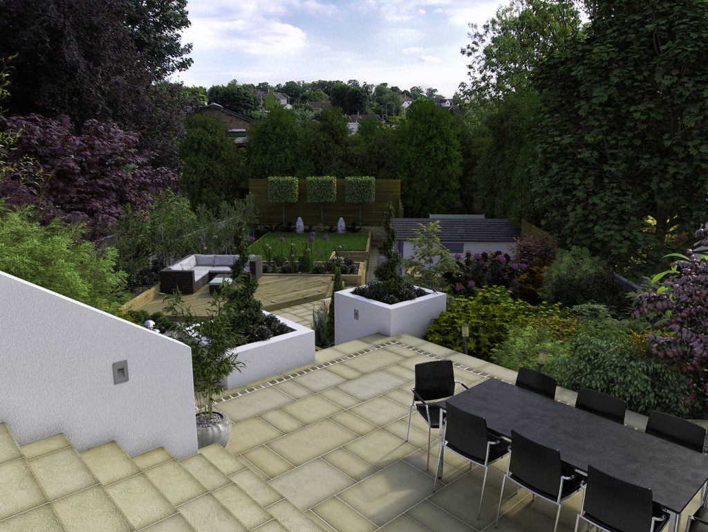 A proposed garden design - photo-realistic and an entirely computer generated 3d render.