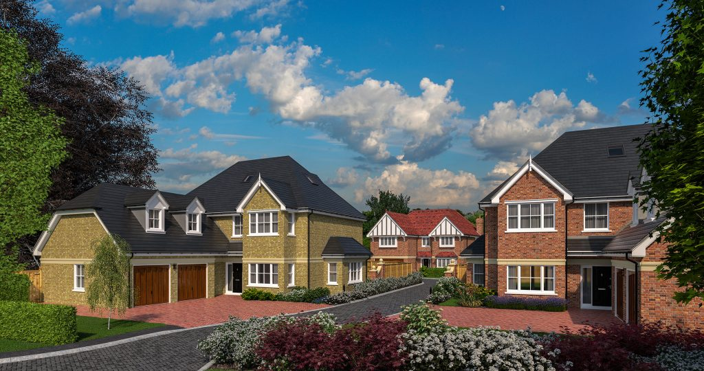 An exterior rendering of a new development plot of three new luxury family homes.