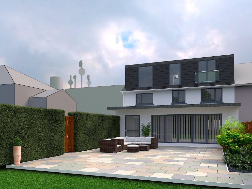 An Exterior Rendering for Planning Permission for a House Extension.